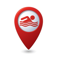 Map pointer with swimming pool icon vector image