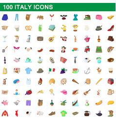 100 italy icons set cartoon style vector image