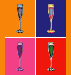 Champagne glass hand drawing vector
