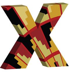 3d font letter x vector