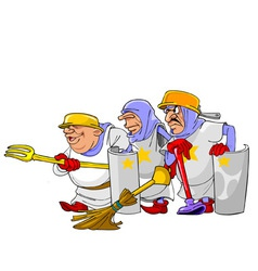 Funny cartoon knights vector