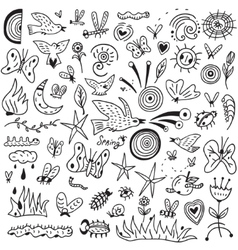 Spring insects - doodles collection vector