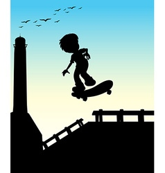 Silhouette boy skateboarding on the street vector