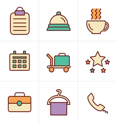 Icons Style Hotel and Hotel Services Icons with Wh vector image