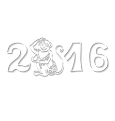 Numbers 2016 with monkeychinese zodiacwhite vector