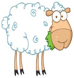 barnyard sheep eating grass vector image