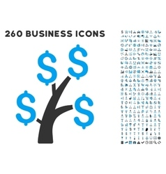 Money tree icon with flat set vector