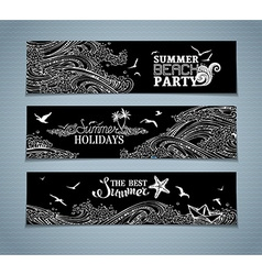 Set of chalk seaocean horizontal banners vector
