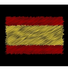 Flag of spain by dirty brush vector