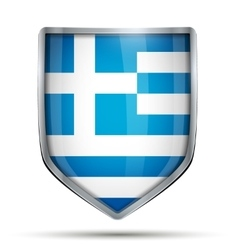 Shield with flag greece vector
