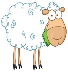 barnyard sheep eating grass vector image