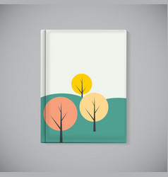 Book cover template with simple autumn tree vector