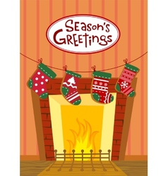 Christmas stockings greeting card vector image vector image