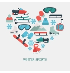 Collection of winter icons activities in flat vector image vector image