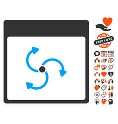 Cyclone calendar page icon with valentine bonus vector