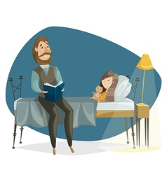 father read bedtime story his daughter vector image