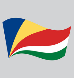 Flag of seychelles waving on gray background vector