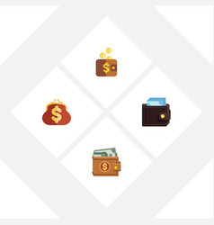 flat icon wallet set of saving billfold payment vector image vector image