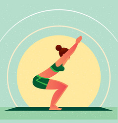 girl standing in yoga chair pose or utkatasana vector image