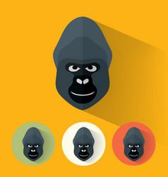 gorilla portrait with flat design vector image vector image