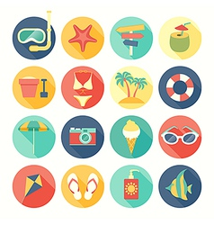 Icons round summer vector
