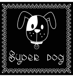 image of dog on black background vector image vector image