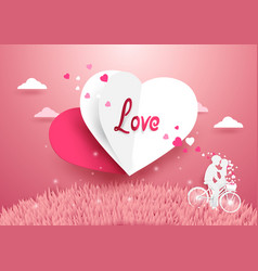 Love concept background white and red heart vector