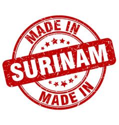 Made in surinam red grunge round stamp vector
