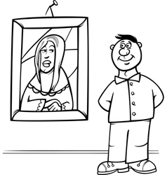 Man in art gallery coloring page vector