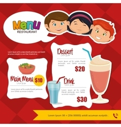 Menu kids design vector