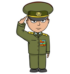 Military cartoon man vector image vector image