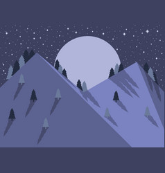 night mountain landscape flat style full moon vector image vector image
