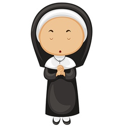 Nun in black outfit vector