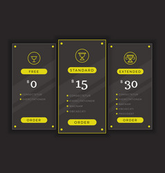 Pricing table comparison chart template vector