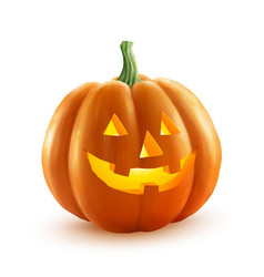 Realistic halloween pumpkin with candle vector