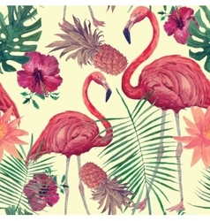 Seamless watercolor pattern with flamingo leaves vector