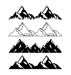 Set of mountains with snow and trees vector