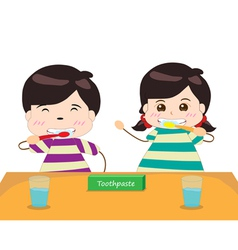 Siblings brushing their teeth together vector