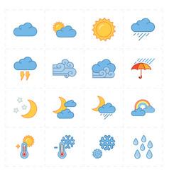 sixteen flat modern weather icons vector image vector image