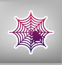 Spider on web purple vector