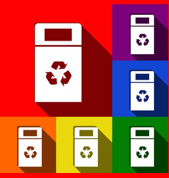 Trashcan sign set of icons vector