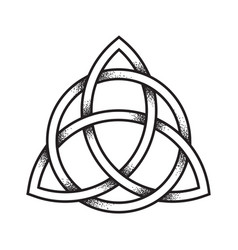 Triquetra or trinity knot hand drawn dot work vector