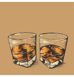 Whiskey in two glasses vector