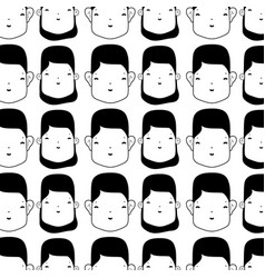 woman and man faces background design vector image