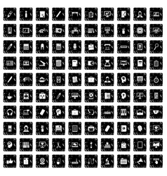 100 work space icons set grunge style vector