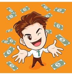 Businessman happy have money vector