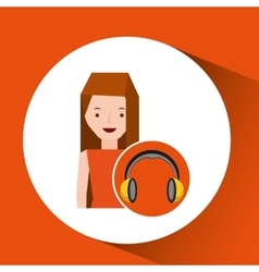 Headphones music character girl vector