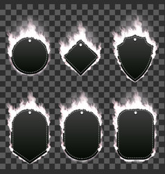 set of six frames surrounded with white flame vector image
