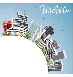 Wichita skyline with gray buildings blue sky and vector