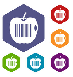 code to represent product identification icons set vector image